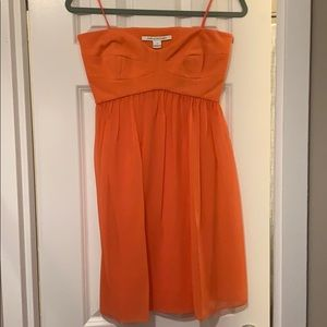 Dianne Von Furstenberg orange strapless mini dress